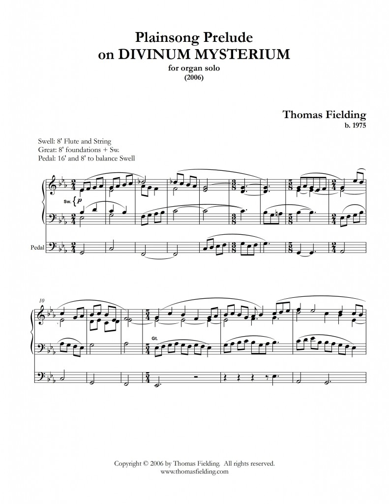 Plainsong Prelude on DIVINUM MYSTERIUM page one