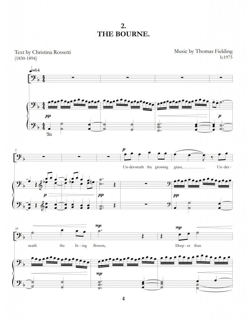 """The Long Hours: Five Rossetti Art Songs"", movement two page one"