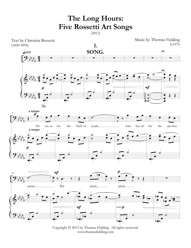 """The Long Hours: Five Rossetti Art Songs"", movement one, page one"