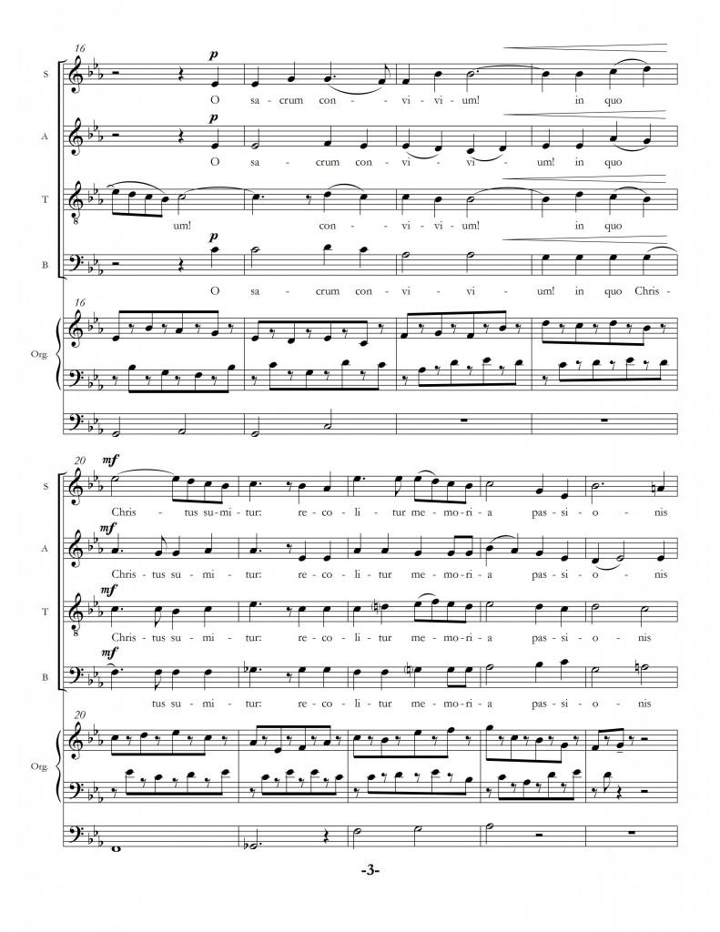 """""""O Sacrum Convivium"""" page three."""