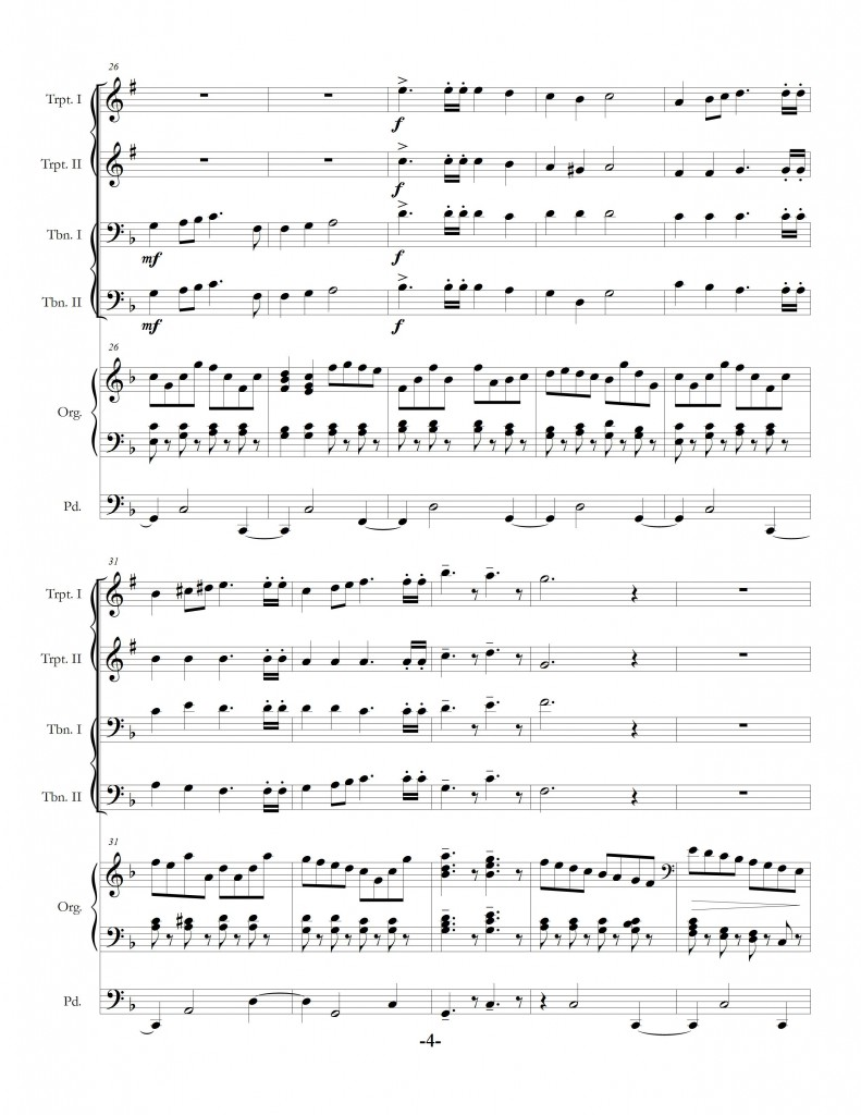 """Festival Prelude on MENDELSSOHN for Organ and Brass Quartet"" page four"