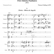 """Two Gloria Fanfares"", movement one page one"