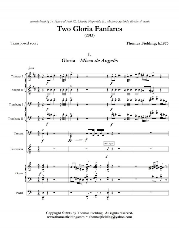 """""""Two Gloria Fanfares"""", movement one page one"""