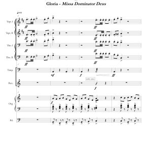 """""""Two Gloria Fanfares"""", movement two page one"""