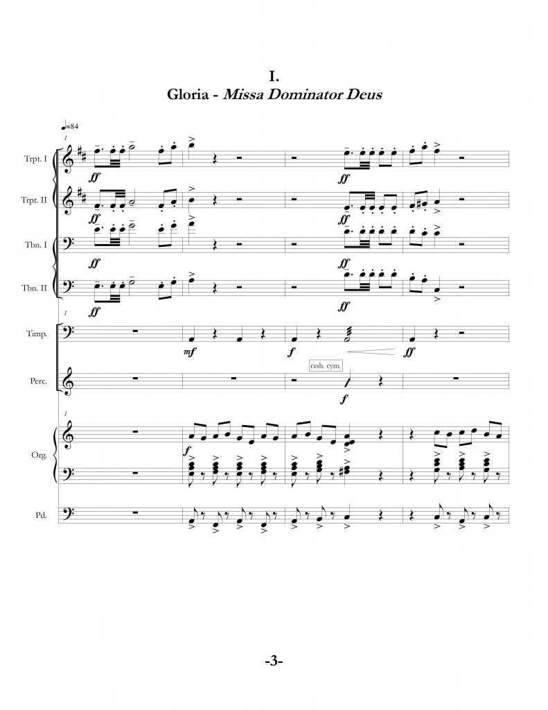 """Two Gloria Fanfares"", movement two page one"