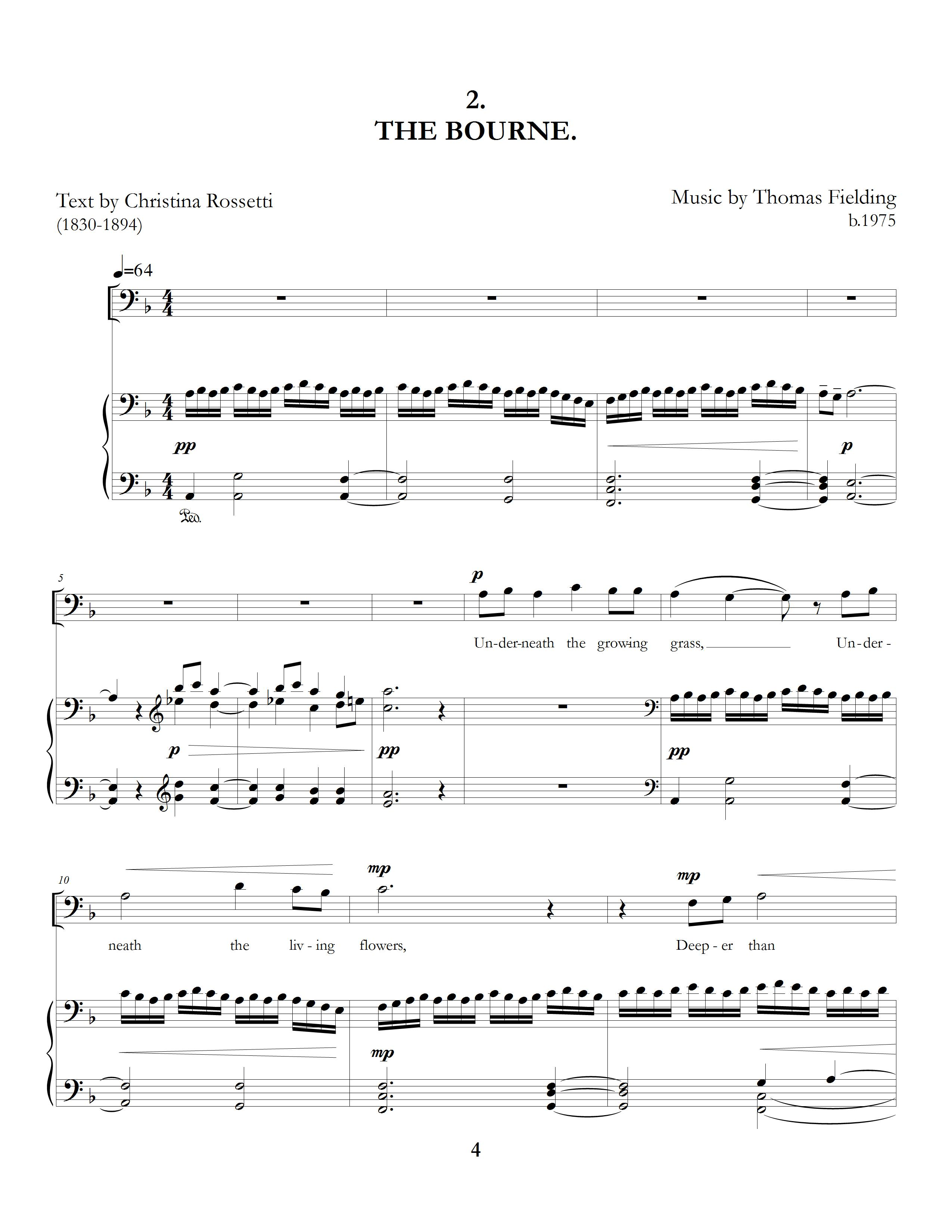 """""""The Long Hours: Five Rossetti Art Songs"""", movement two page one"""