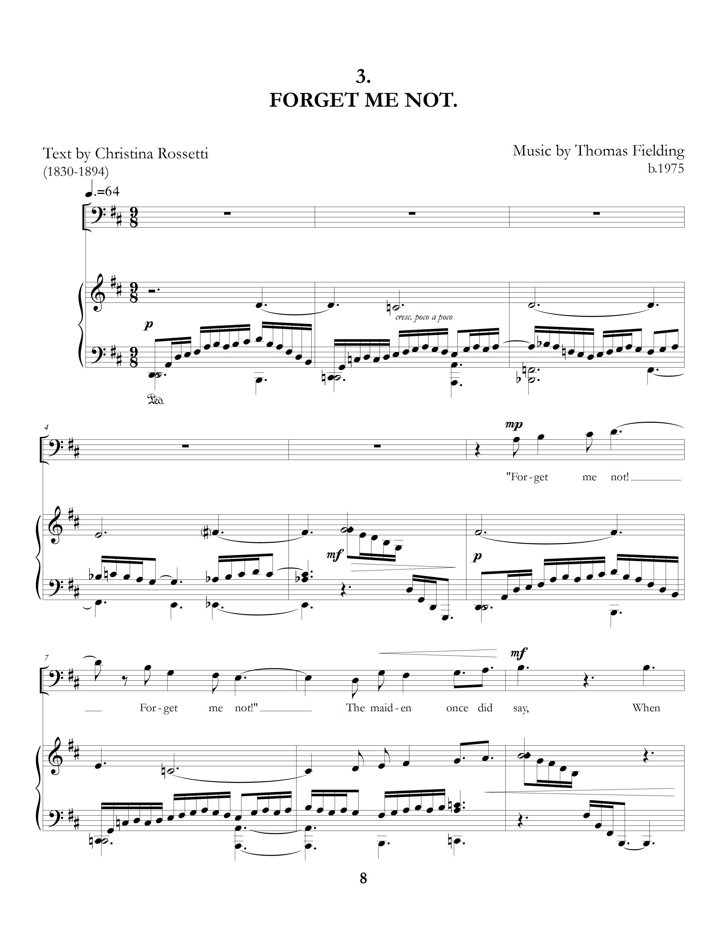"""""""The Long Hours: Five Rossetti Art Songs"""", movement three page one"""