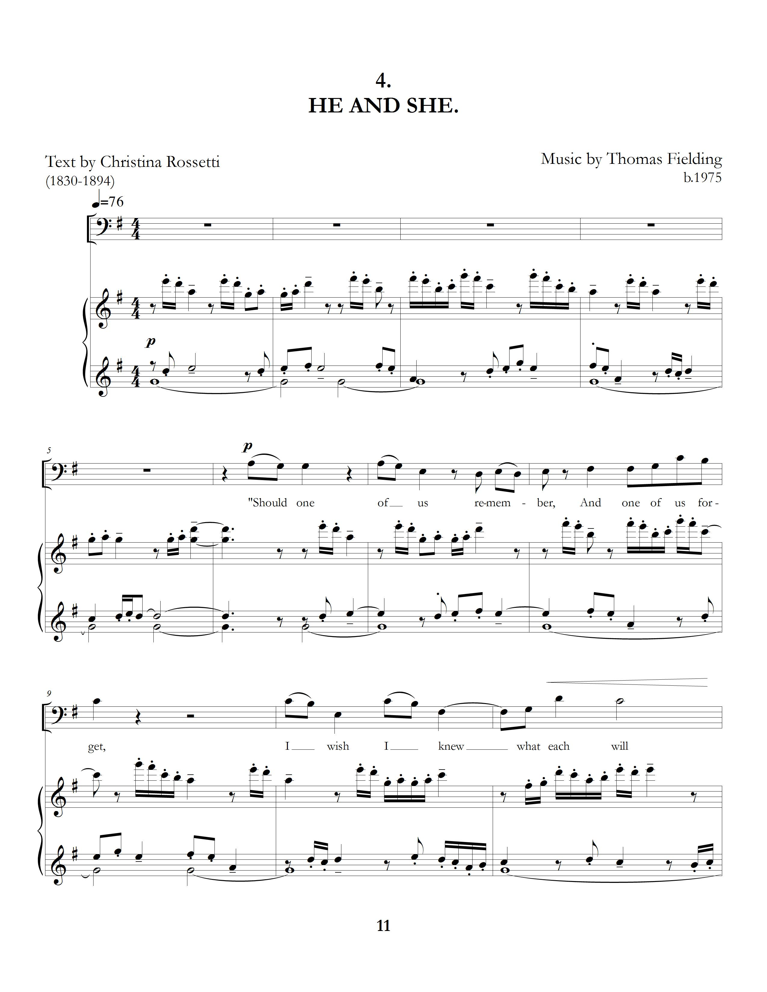 """""""The Long Hours: Five Rossetti Art Songs"""", movement four, page one"""
