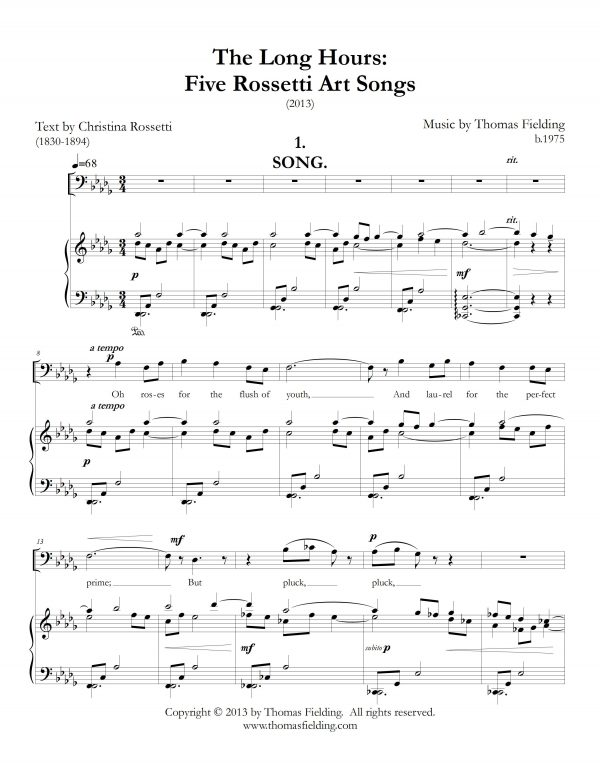 """""""The Long Hours: Five Rossetti Art Songs"""", movement one, page one"""