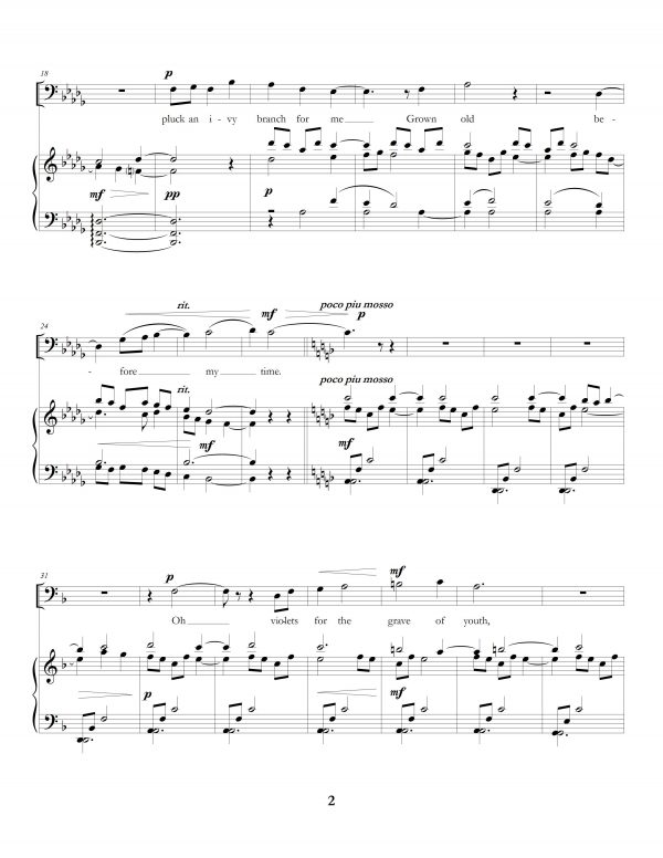 """""""The Long Hours: Five Rossetti Art Songs"""", movement one, page two"""